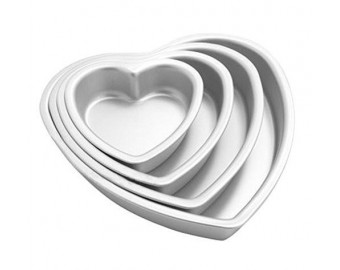 "Aluminium Heart Shaped Cake Pan Set Tin Muffin Chocolate Mold Baking with Removable Bottom - 5"" 6"" 8"" 10"""
